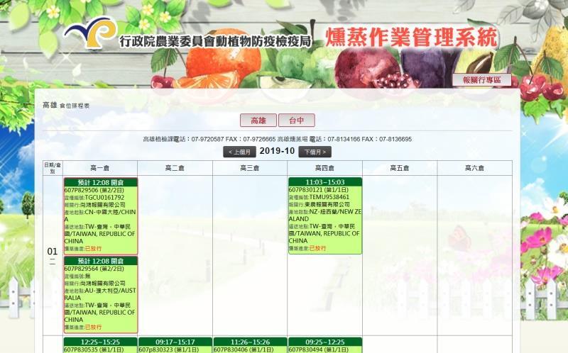 行政院農業委員會動植物防疫檢疫局 燻蒸作業管理系統-核簽、費用統計、排倉